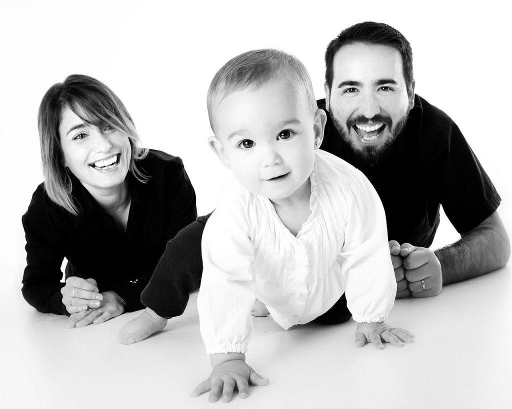 family, baby, crawling